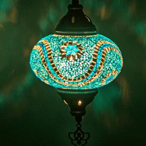 Oosterse Hanglamp Turquoise Mozaiek
