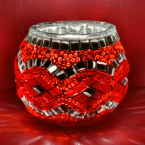 Waxinelichthouder Rood Mozaiek